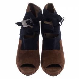 Hermes Blue/Brown Suede Double Ankle Strap Open Toe Booties Size 40 242523