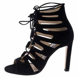 Jimmy Choo Black Suede Hitch Cut Out Ankle Wrap Sandals Size 36 241523
