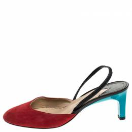 Paul Andrew Multicolor Suede and Leather Celestine Slingback Sandals Size 37 241773