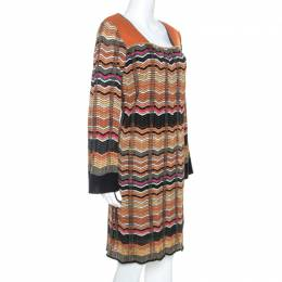 M Missoni Multicolor Chevron Knit Wool Blend Dress L 241720