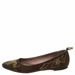 Chloe Brown Suede Anatolia Studded Ballet Flats Size 39