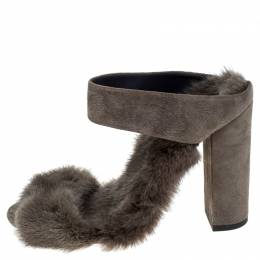 Aquazzura Grey Fur Purr Purr Ankle Strap Sandals Size 36.5 242799