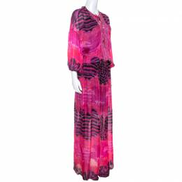 Roberto Cavalli Pink Printed Chiffon Embellished Neckline Detail Maxi Dress S 238068