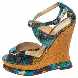 Alexandre Birman Multicolor Python Leather Wedge Platform Ankle Strap Sandals Size 37 243859