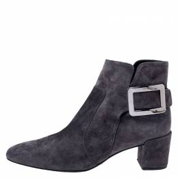 Roger Vivier Grey Suede Polly Side Buckle Ankle Boots Size 37 244059