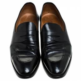 Ralph Lauren Black Leather Penny Loafers Size 44 243982
