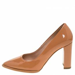 Tod's Beige Patent Leather Pointed Toe Pumps Size 35 Tod's