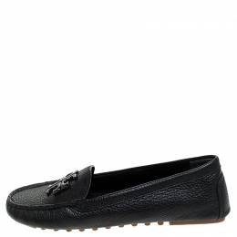 Tory Burch Black French Tumbled Leather Reva Slip On Loafers Size 36.5