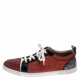 Christian Louboutin Red/Black Suede and Patent Leather Gondola Strass Low Top Sneakers Size 42 239831