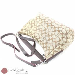 Coach Beige/Purple Signature Canvas Leather Bag 238814