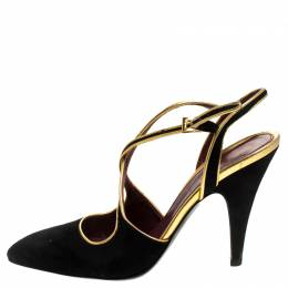 Prada Black Suede And Gold Leather Trim Ankle Strap Sandals Size 36 243998