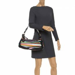Missoni Multicolored Striped Canvas and Leather Shoulder Bag 240782