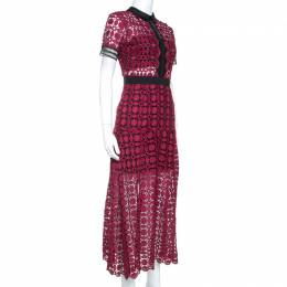 Self-Portrait Burgundy Contrast Trim Detail Embroidered Lace Dress S
