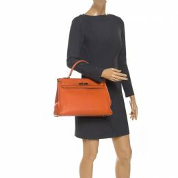 Hermes Orange Poppy Togo Leather Gold Hardware Kelly Retourne 35 Bag