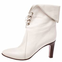 Chloe White Leather And Beige Canvas Kole Ankle Boots Size 38