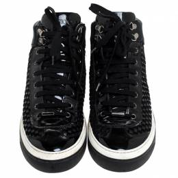 Jimmy Choo Black Woven Leather Argyle High Top Sneakers Size 42 241548