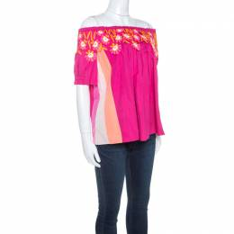 Peter Pilotto Pink Cotton Lace Detail Panelled Off-Shoulder Top M 243335