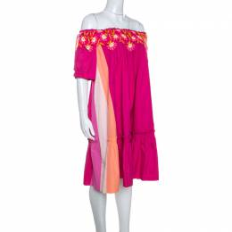 Peter Pilotto Pink Cotton Embroidery Detail Off-Shoulder Pallas Dress M