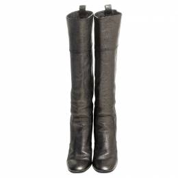Tod's Metallic Grey Leather Knee Length Boots Size 36.5 244144