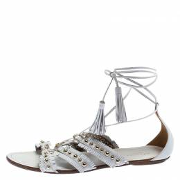 Aquazurra White Studded Leather Tulum Tassel Tie Up Flat Sandals Size 39 Aquazzura 243663