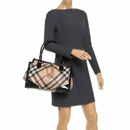 Burberry	 Beige/Black Supernova Check Coated Canvas and Patent Leather Madison Diaper Bag