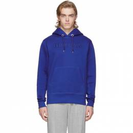 Helmut Lang Blue Raised Embroidery Hoodie J09DM524