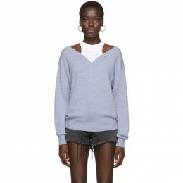 T by Alexander Wang Blue Cropped Bi-Layer V-Neck Sweater 4KC1201038