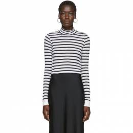 White and Navy Striped Mock Neck T-Shirt alexanderwang.t 4CC2191110