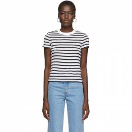 White and Navy Striped Slub T-Shirt alexanderwang.t 4CC2191107