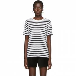 White and Navy Striped Slub Pocket T-Shirt alexanderwang.t 4C991020A3