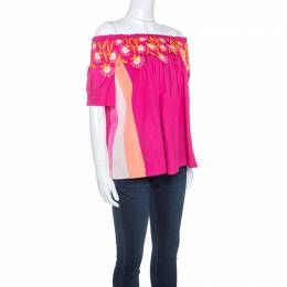 Peter Pilotto Pink Cotton Lace Detail Panelled Off-Shoulder Top L 243323