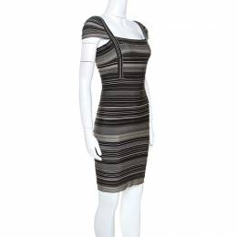 Herve Leger Bicolor Striped Sandra Bandage Dress M 243086