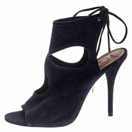 Aquazzura Black Suede Leather Sexy Thing Cutout Ankle Wrap Sandals Size 38 242926