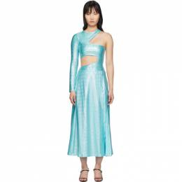 SSENSE Exclusive Blue Asymmetric Jumpsuit and Skirt Set Saks Potts 63011