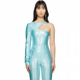 SSENSE Exclusive Blue Asymmetric One-Piece Swimsuit Saks Potts 63011