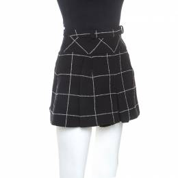 Balenciaga Black Checked Wool Blend Pleated Mini Skirt M