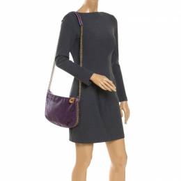 Stella Mccartney	 Purple Faux Python Leather Chain Shoulder Bag 243148