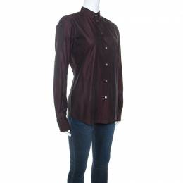 Dolce and Gabbana Plum Cotton Two Toned Button Front Shirt S 245015