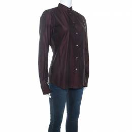 Dolce and Gabbana Plum Cotton Two Toned Button Front Shirt S 245016