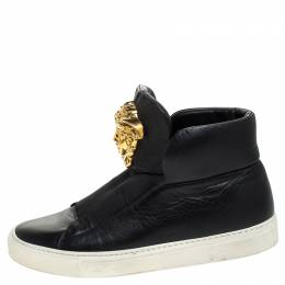Versace Black Leather Palazzo Slip On High Top Sneakers Size 40 245575