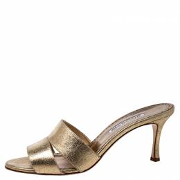 Manolo Blahnik Metallic Gold Leather Open Sandals Size 42 245158