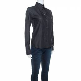 Dolce and Gabbana Charcoal Grey Button Front Shirt S 244371