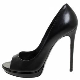 Casadei Black Leather Peep Toe Pumps Size 38.5