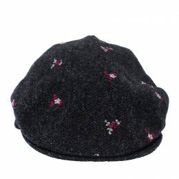 Dolce and Gabbana Grey Floral Embroidered Tweed Flat Cap 235859