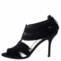 Dior Black Suede Caged Peep Toe Pumps Size 38 246123