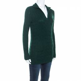 Ralph Lauren Pine Green Cashmere Cable Knit Sweater S 243777