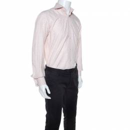 Tom Ford Pale Pink Gingham Check Textured Cotton Button Front Shirt M 245159