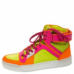 Gucci Neon Multicolor Leather Basketball High Top Sneakers Size 40 245928