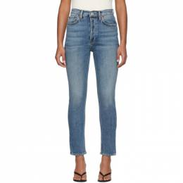 Re/done Blue High-Rise Ankle Crop Jeans 190-3WHRAC