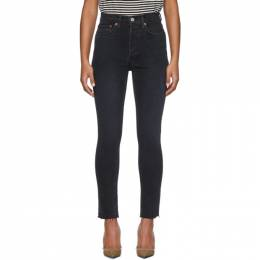Re/done Black High-Rise Ankle Crop Jeans 189-3WHRAC